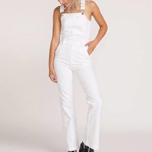 White Volcom overall